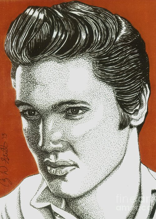 Elvis Greeting Card featuring the drawing The King by Cory Still