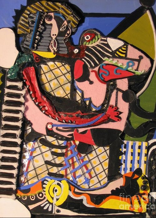 Abstract Greeting Card featuring the mixed media The Kiss Aka The Embrace After Picasso 1925 by Mack Galixtar