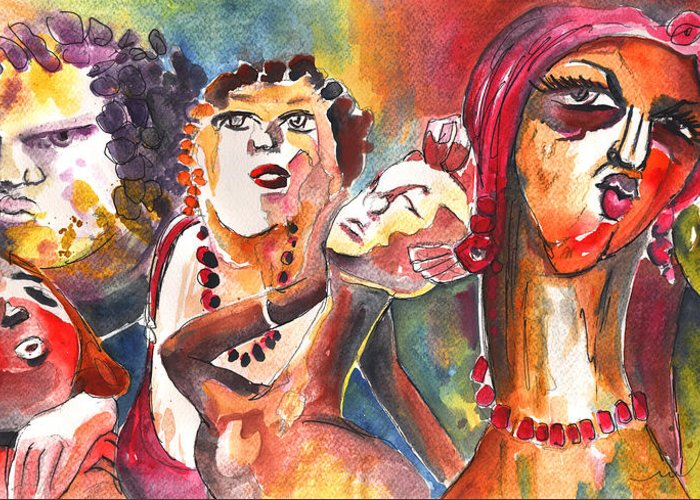 Czech Republic Greeting Card featuring the painting The Ladies Of Loket In The Czech Republic by Miki De Goodaboom