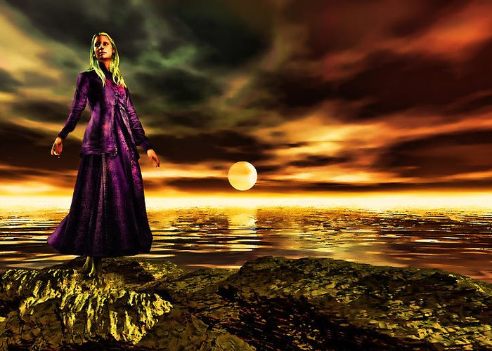 Woman Greeting Card featuring the painting The Lady And The Sea Of Gold by Tyler Robbins