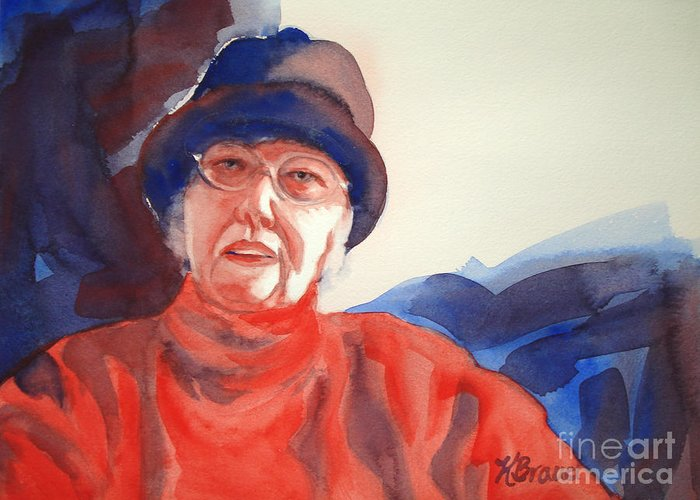 Painting Greeting Card featuring the painting The Lady In Red by Kathy Braud