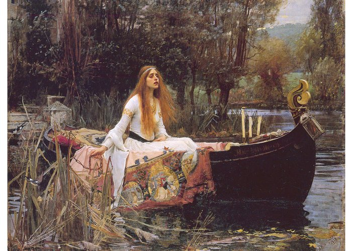 John William Waterhouse Greeting Card featuring the painting The Lady Of Shallot by John William Waterhouse