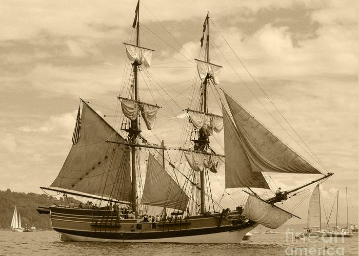 Transportation Greeting Card featuring the photograph The Lady Washington Ship by Kym Backland