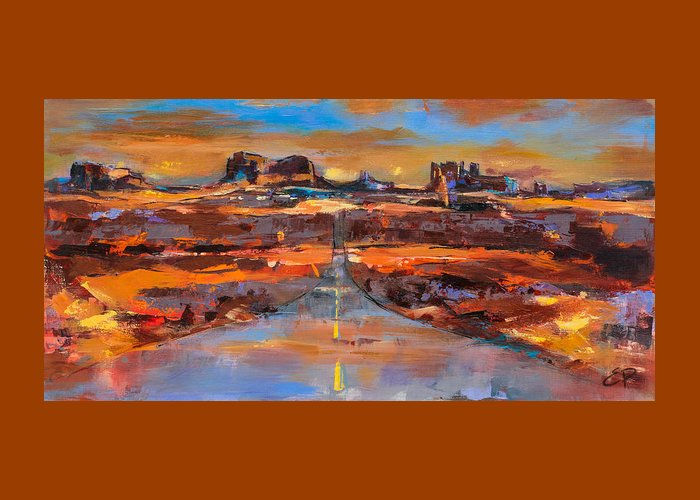 Monument Valley Greeting Card featuring the painting The Land Of Rock Towers by Elise Palmigiani