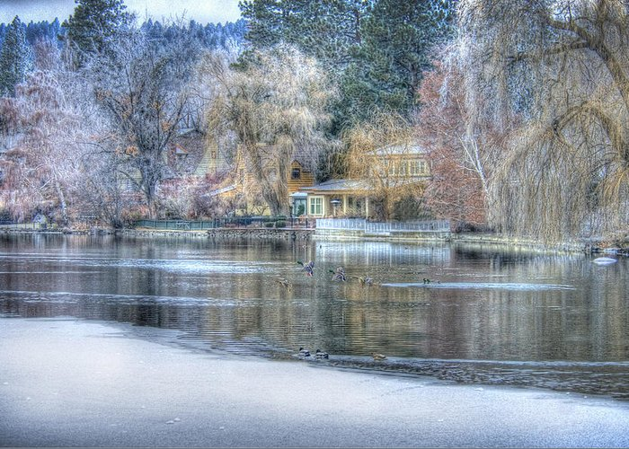 Trees Reflect In The Deschutes River Greeting Card featuring the photograph The Landing by Nichon Thorstrom