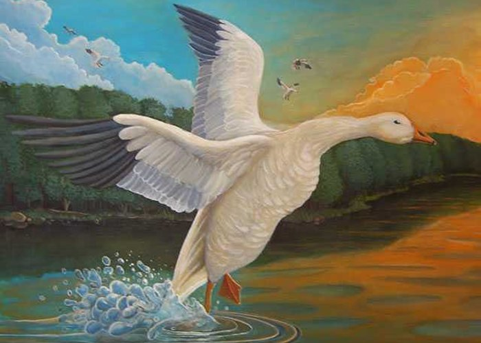 Rick Huotari Greeting Card featuring the painting The Landing by Rick Huotari