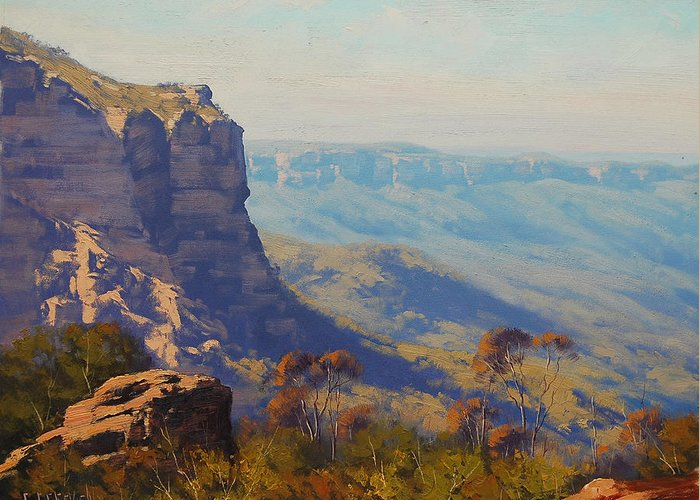 Greeting Card featuring the painting The Landslide Katoomba by Graham Gercken