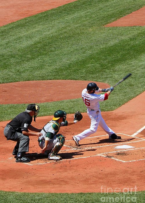 Fine Art America Greeting Card featuring the photograph The Laser Show Dustin Pedroia by Tom Prendergast