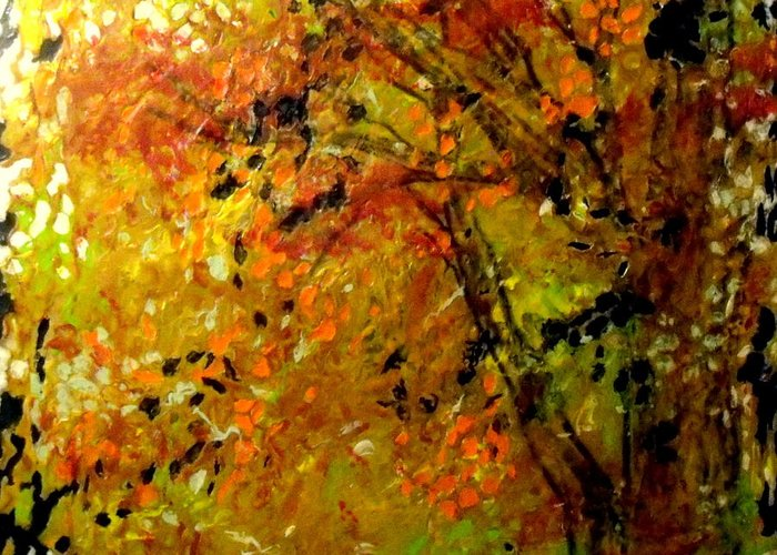 Encaustic Greeting Card featuring the painting The Last Days Of Autumn by Cheryl Lynn Looker