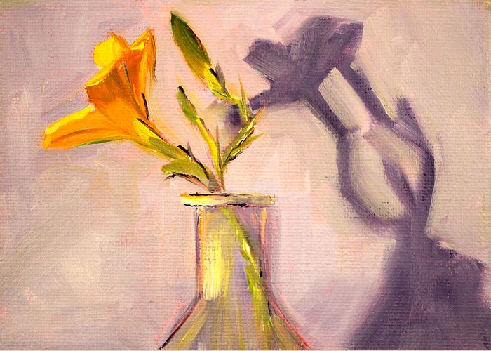Lily Flower Greeting Card featuring the painting The Last Lily by Nancy Merkle