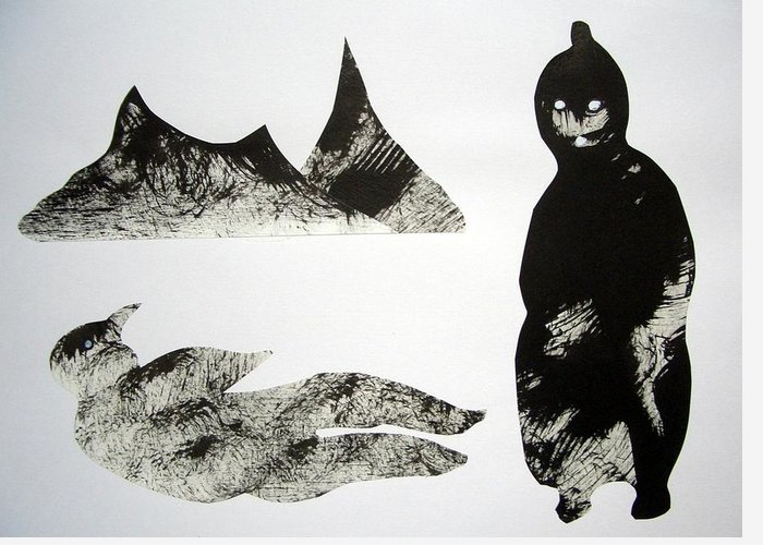 Cut & Paste Greeting Card featuring the drawing The Last Ninja by Aquira Kusume