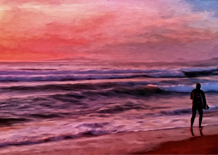 Surf Greeting Card featuring the painting The Last Set by Michael Pickett