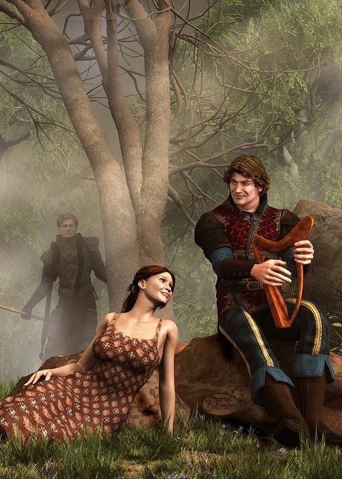 Tristan Greeting Card featuring the digital art The Last Song Of Tristan by Daniel Eskridge