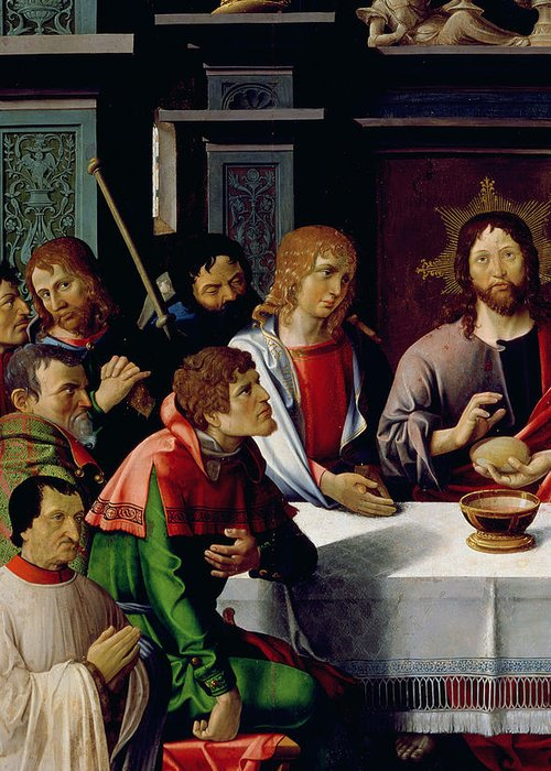 The Last Supper Greeting Card featuring the painting The Last Supper by French School