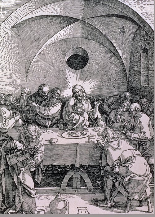 Print Greeting Card featuring the painting The Last Supper From The 'great Passion' Series by Albrecht Duerer