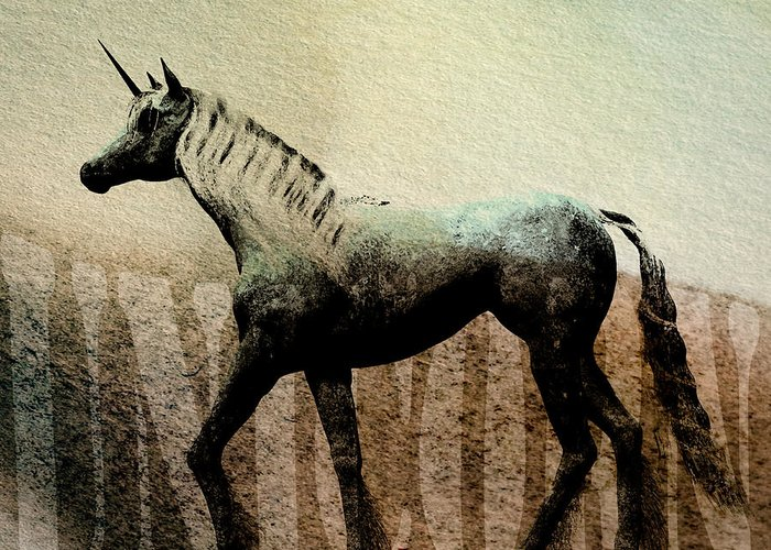 Animal Greeting Card featuring the painting The Last Unicorn by Bob Orsillo
