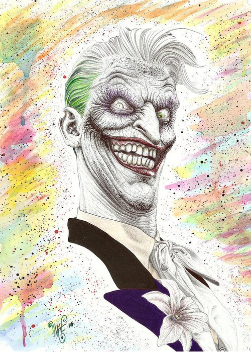 Joker Greeting Card featuring the drawing The Laughing Man by Wave