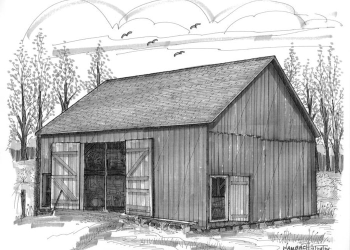 Vermont Greeting Card featuring the drawing The Lawrence Barn by Richard Wambach