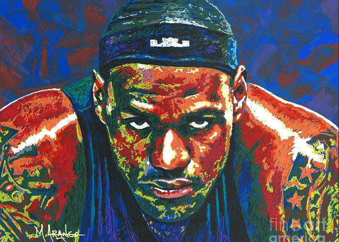 Lebron Greeting Card featuring the painting The Lebron Death Stare by Maria Arango