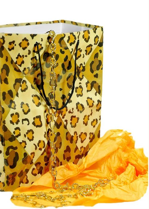 Gift Bag Greeting Card featuring the photograph The Leopard Gift Bag by Diana Angstadt