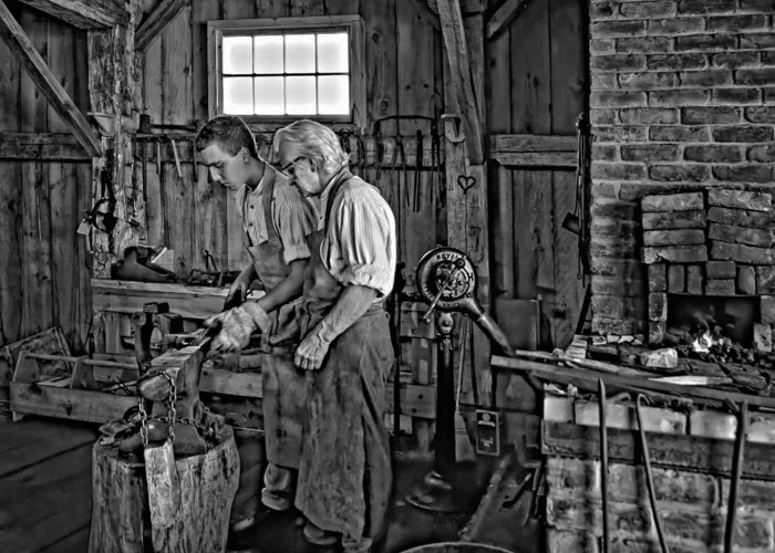 Blacksmith Greeting Card featuring the photograph The Lesson Monochrome by Steve Harrington
