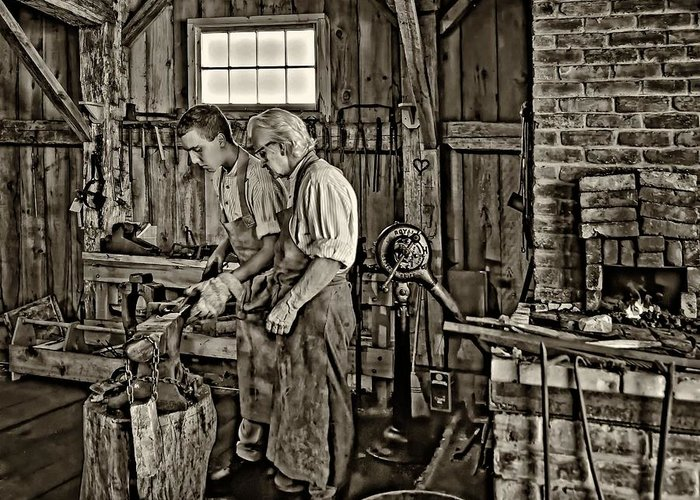 Blacksmith Greeting Card featuring the photograph The Lesson Sepia by Steve Harrington