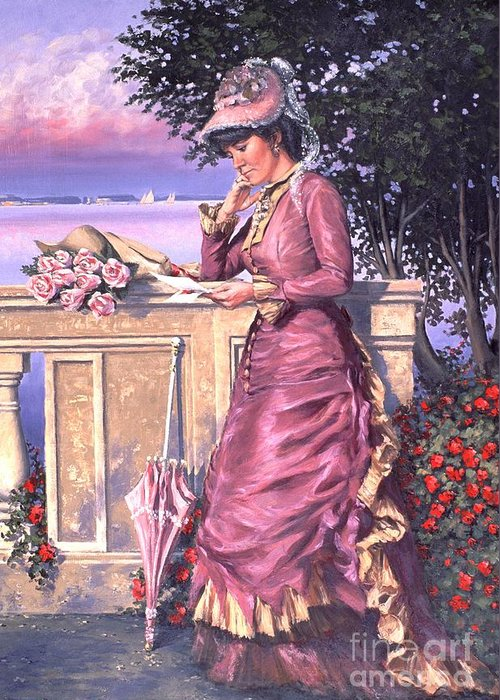 Romantic Victorian Greeting Card featuring the painting The Letter by Michael Swanson