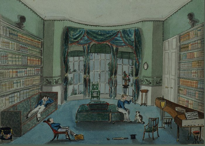 Book Shelf Greeting Card featuring the painting The Library, C.1820, Battersea Rise by English School