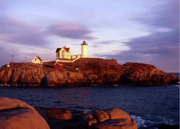Light Greeting Card featuring the photograph The Light On The Nubble by Skip Willits