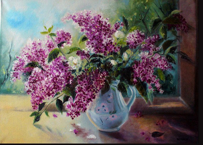 Lilac Greeting Card featuring the painting The Lilac On The Window by Julija Demenkova