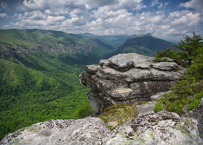 Linville Greeting Card featuring the photograph The Linville Gorge From Shortoff by Mark Steven Houser