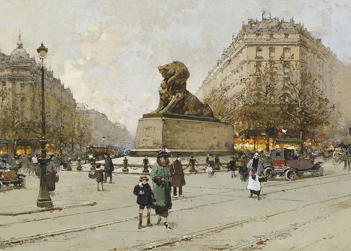 19th Century Greeting Card featuring the painting The Lion Of Belfort Le Lion De Belfort by Eugene Galien-Laloue