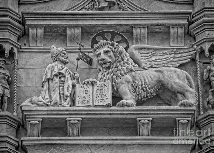 The Lion Of Saint Mark Greeting Card featuring the photograph The Lion Of Saint Mark by Lee Dos Santos