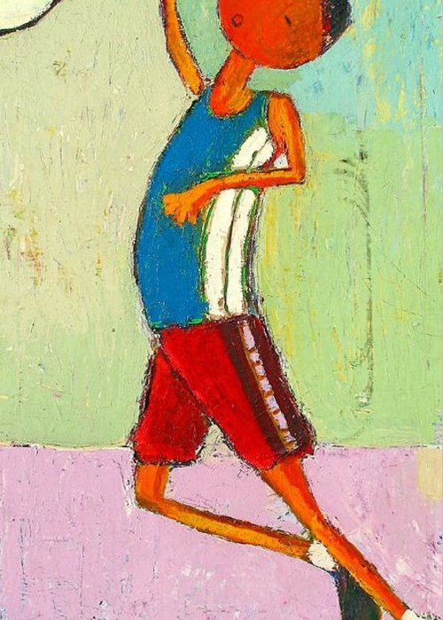 Abstract Greeting Card featuring the painting The Little Champion by Habib Ayat