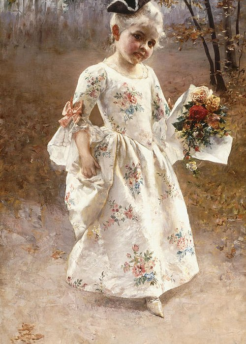 Little; Flower; Girl; Female; Child; Children; Portrait; Standing; Full Length; Young; Youth; Posy; Bouquet; Flower; Flowers; Floral; Silk; Dress; Hat; Walking; Wooded; Landscape; Coquettish; Coy; Woods; Leaves Greeting Card featuring the painting The Little Flower Girl by Albert Raudnitz