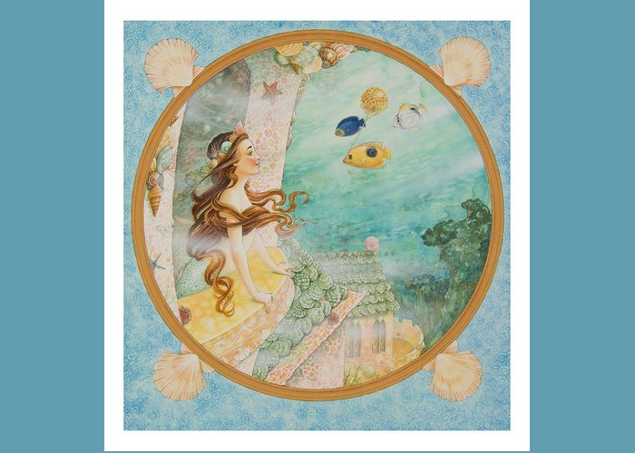 Fairy Tale Greeting Card featuring the painting The Little Mermaid by Lynn Bywaters