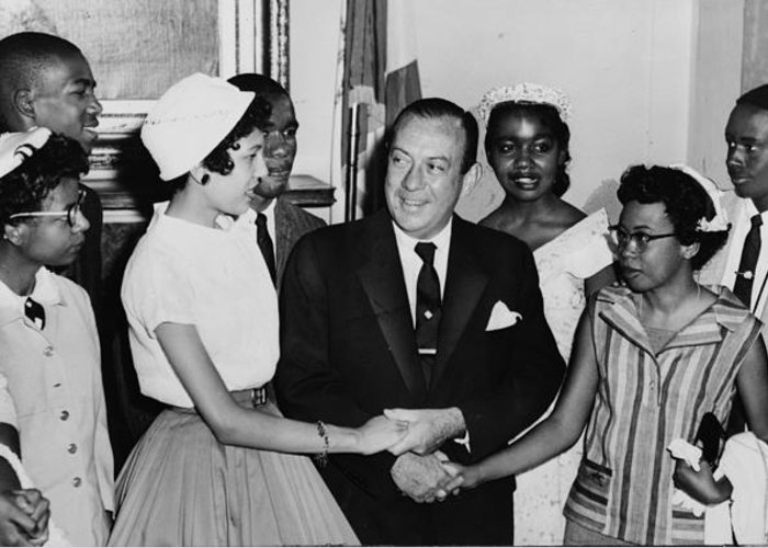 Civil Rights Greeting Card featuring the photograph The Little Rock Nine by Benjamin Yeager