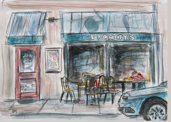 Small Towns Greeting Card featuring the painting The Local Chat N Chew by Tim Ross