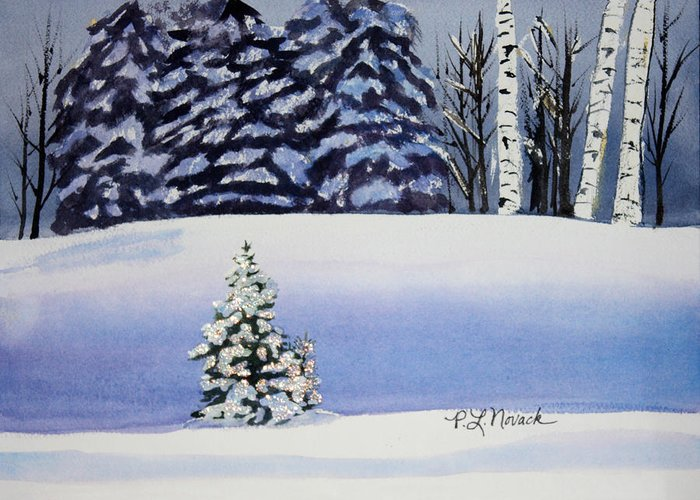 Christmas Greeting Card featuring the painting The Lone Christmas Tree by Patricia Novack