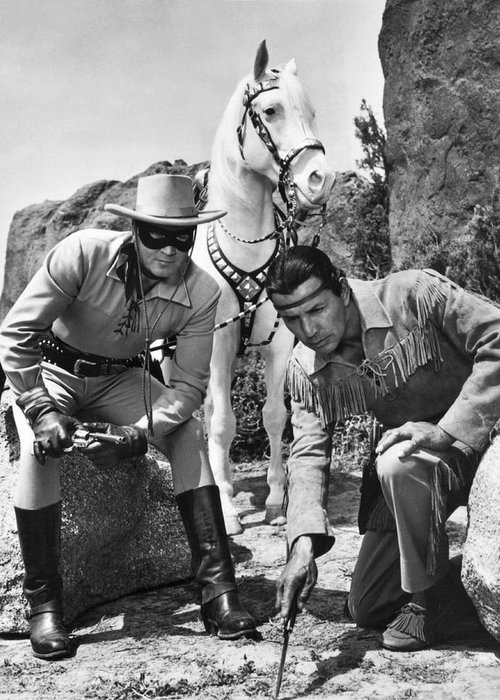 1950's Greeting Card featuring the photograph The Lone Ranger And Tonto by Underwood Archives