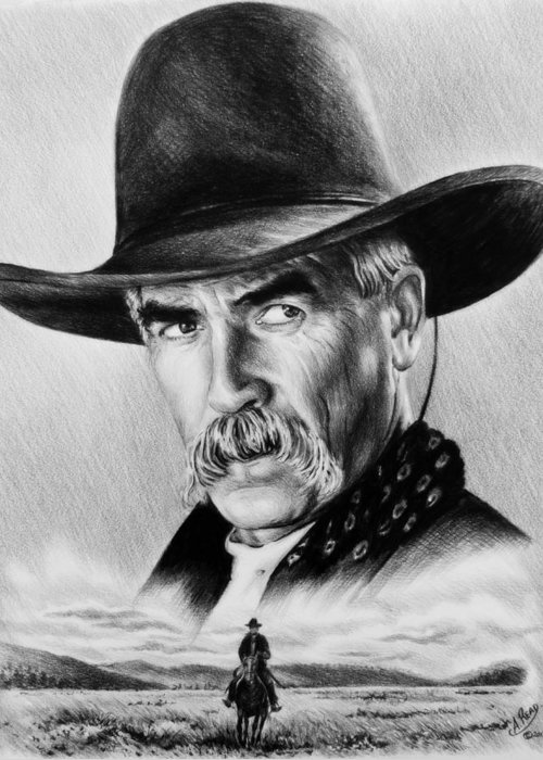 Sam Elliot Greeting Card featuring the drawing The Lone Rider Wash Effect by Andrew Read