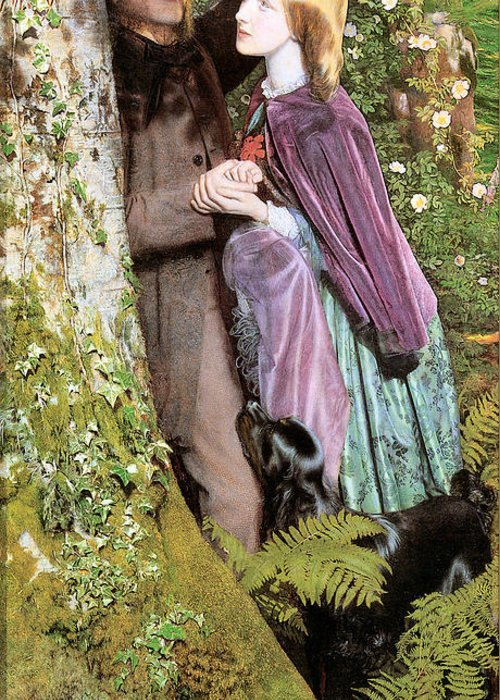 Arthur Hughes Greeting Card featuring the digital art The Long Engagement by Arthur Hughes