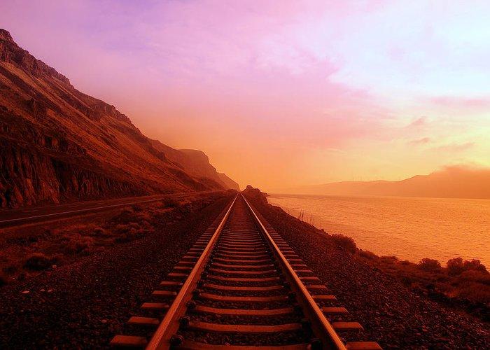 Train Tracks Photographs Greeting Cards