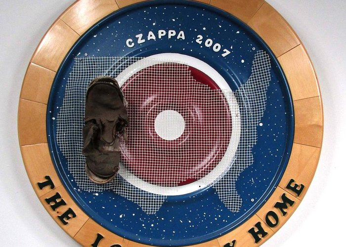 Shoe Greeting Card featuring the sculpture The Long Way Home #27 by Bill Czappa