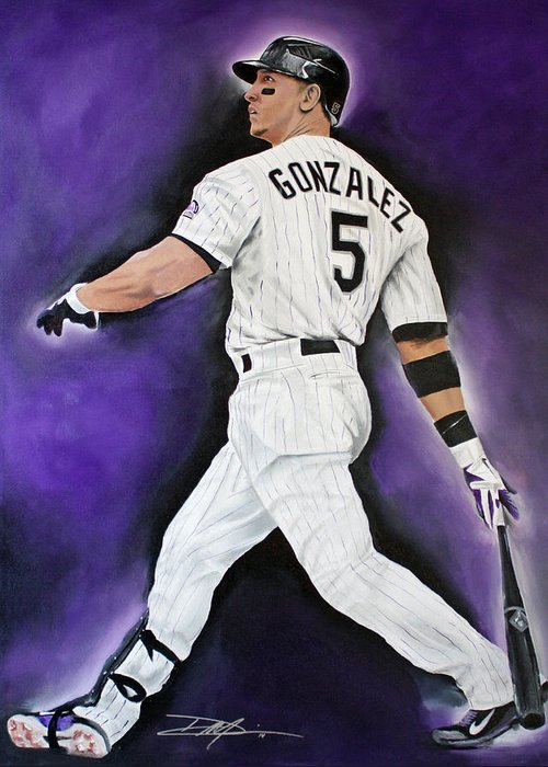 Mlb Greeting Card featuring the drawing Carlos Gonzales by Don Medina