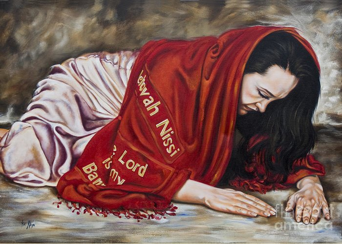 Ex 17:8-16 When Lifted Up Greeting Card featuring the painting The Lord Is My Banner Yahweh Nissi by Ilse Kleyn