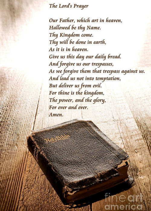 Lord's Prayer Greeting Card featuring the photograph The Lord's Prayer And Bible by Olivier Le Queinec