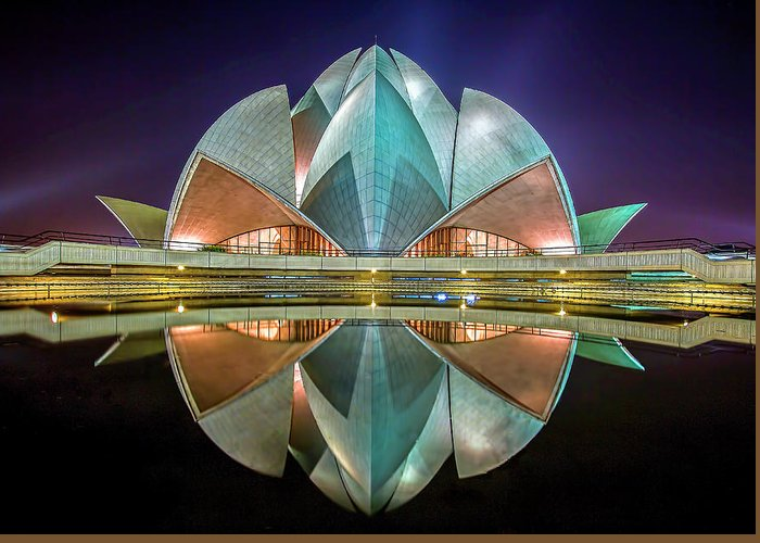 Delhi Greeting Card featuring the photograph The Lotus Temple by Jiti Chadha