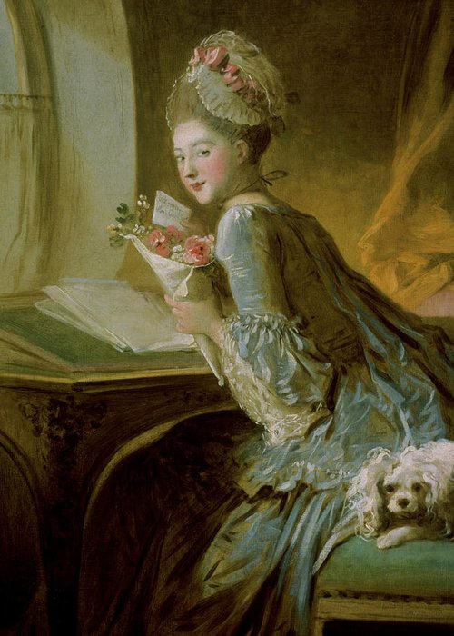 Fragonard Greeting Card featuring the painting The Love Letter by Jean Honore Fragonard