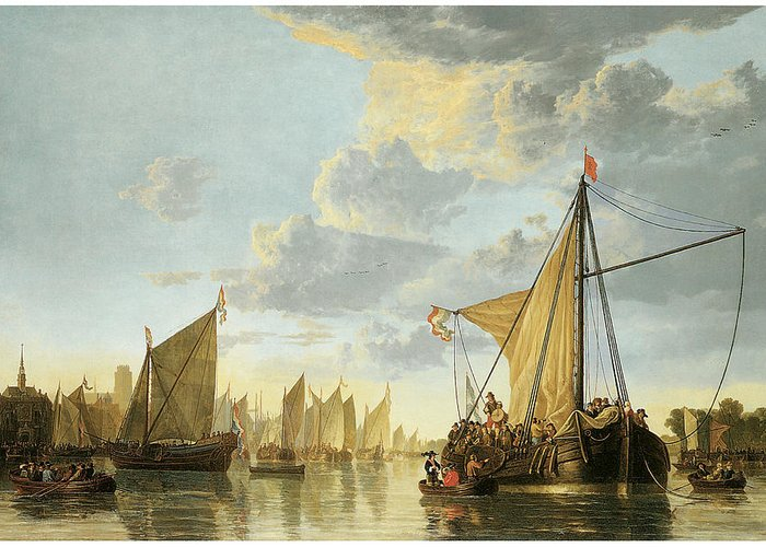 Aelbert Cuyp Greeting Card featuring the painting The Maas At Dordrecht by Aelbert Cuyp